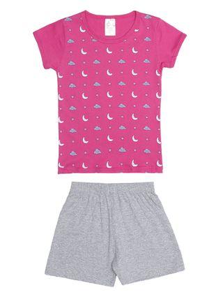 Pijama Curto Infantil para Menina - Rosa/cinza
