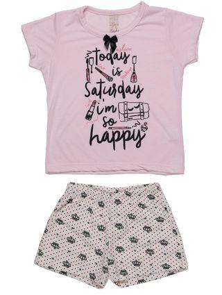 Pijama Curto Infantil para Menina - Rosa