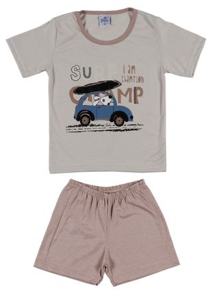 Pijama Curto Infantil para Menino - Bege/caramelo