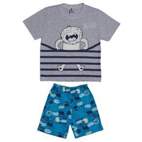 Pijama Curto Infantil para Menino - Cinza/azul 8
