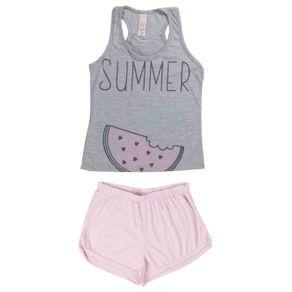 Pijama Curto Juvenil para Menina - Cinza 10
