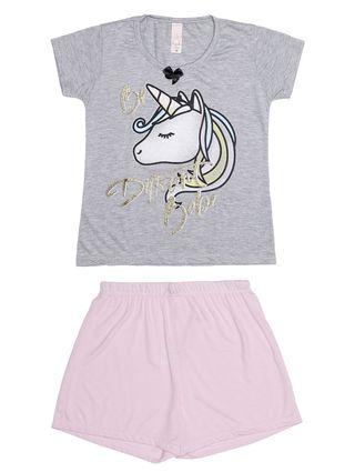 Pijama Curto Juvenil para Menina - Cinza