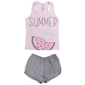 Pijama Curto Juvenil para Menina - Rosa 10