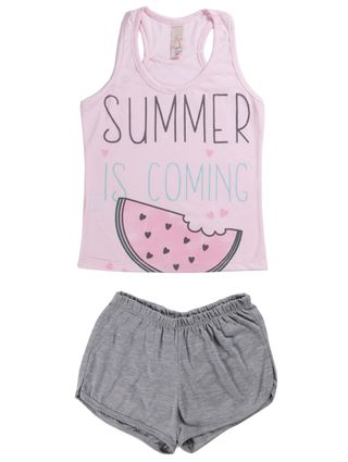 Pijama Curto Juvenil para Menina - Rosa