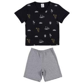Pijama Curto Juvenil para Menino - Preto/cinza 4