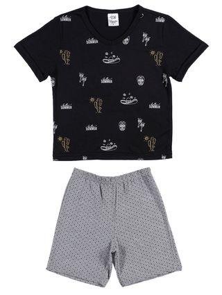 Pijama Curto Juvenil para Menino - Preto/cinza