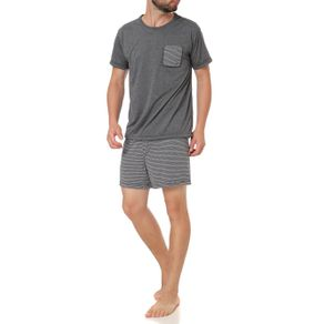 Pijama Curto Masculino Cinza P