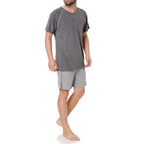 Pijama Curto Masculino Cinza G