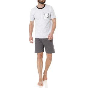 Pijama Curto Masculino Cinza M