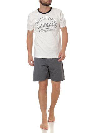 Pijama Curto Masculino Off White/cinza