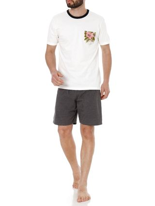 Pijama Curto Masculino Off White