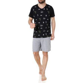 Pijama Curto Masculino Preto/cinza P