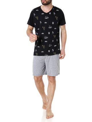 Pijama Curto Masculino Preto/cinza