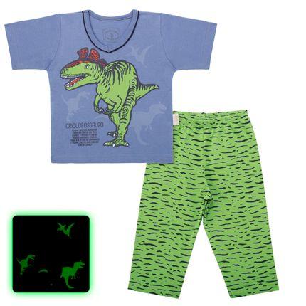 Pijama Curto que Brilha no Escuro Criolofossauro - Cara de Criança