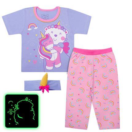Pijama Curto que Brilha no Escuro Luli Unicórnio - Cara de Criança