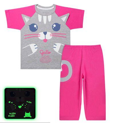 Pijama Curto que Brilha no Escuro Miau Miau - Cara de Criança
