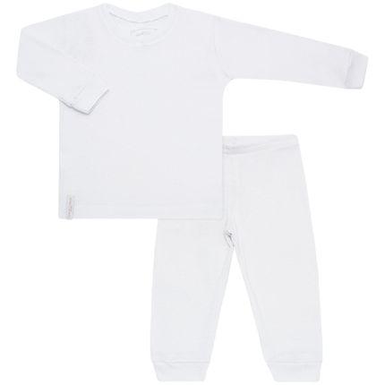Pijama de Baixo em Malha Canelada Branco - Cara de Criança