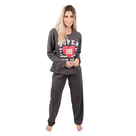Pijama Feminino Longo de Moletinho Cinza / P