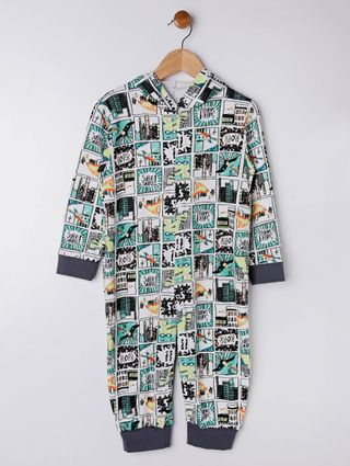Pijama Infantil para Menino - Branco/verde