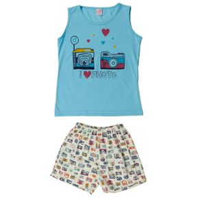 Pijama Juvenil para Menina - Azul/amarelo 10