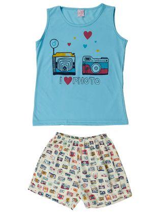 Pijama Juvenil para Menina - Azul/amarelo