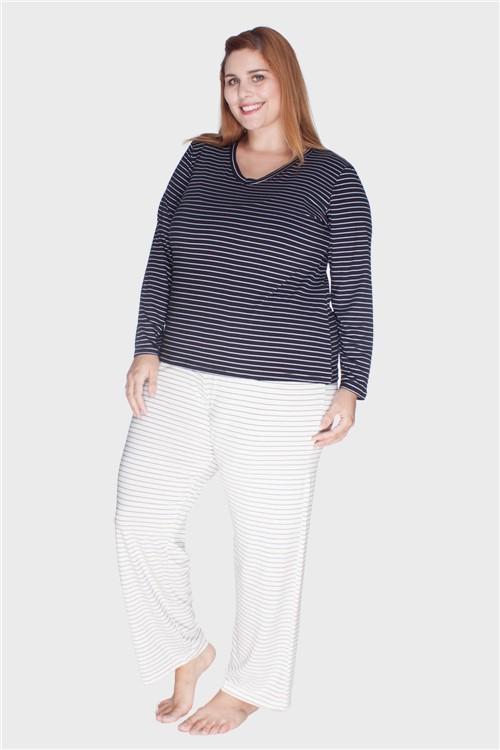 Pijama Listrado Composê Plus Size Preto-46/48