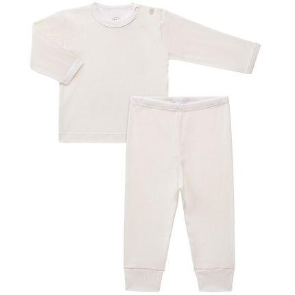 Pijama Longo Canelado para Bebe Marfim - Dedeka