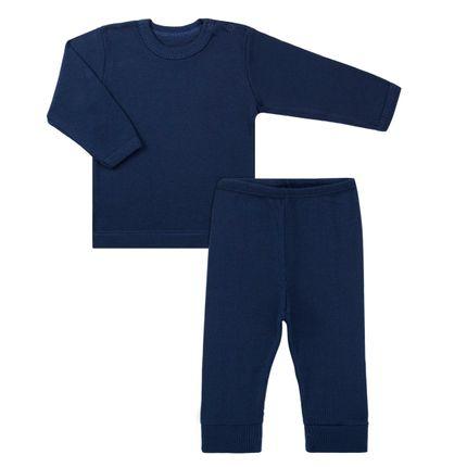 Pijama Longo Canelado para Bebe Marinho - Dedeka