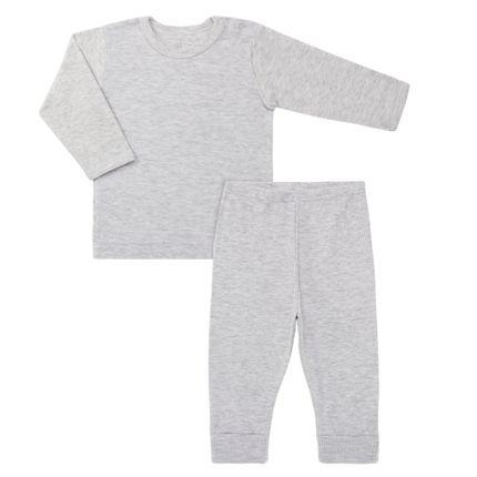 Pijama Longo Canelado para Bebe Mescla - Dedeka