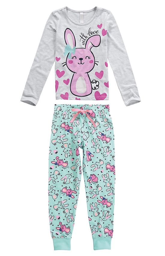 Pijama Longo Coelhinha Menina Cinza - 1