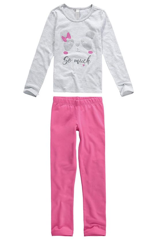 Pijama Longo com Saia Menina Cinza - 1