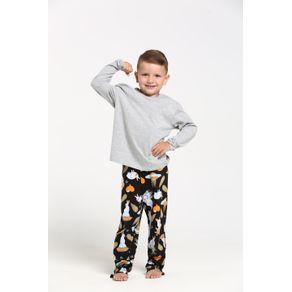 Pijama Longo Decote V - Orange Coelhos Espaciais 1