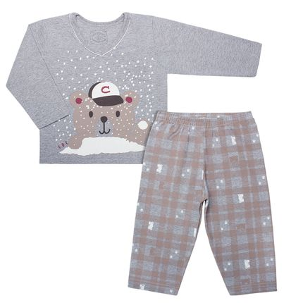 Pijama Longo em Malha Amigo Urso - Cara de Criança