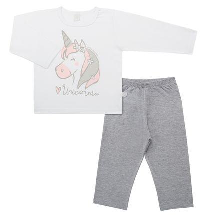 Pijama Longo em Malha Unicórnio - Cara de Sono