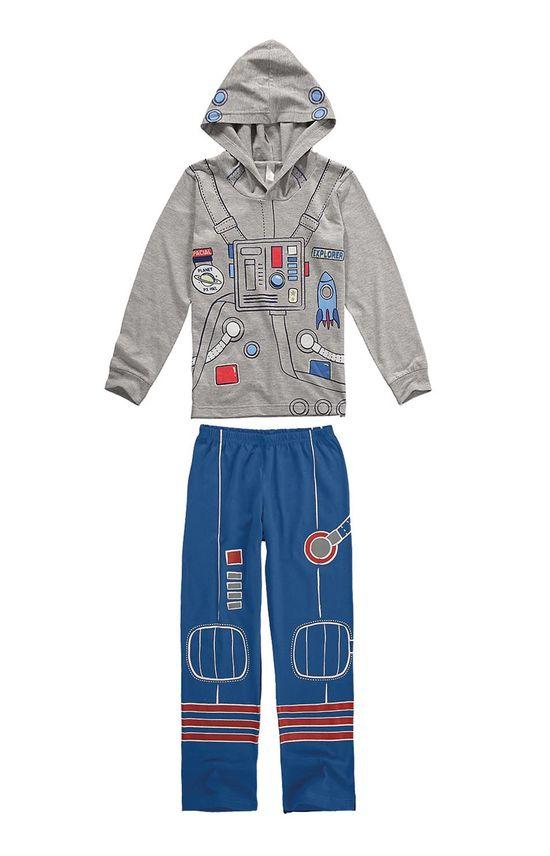 Pijama Longo Estampado Menino Cinza - 1