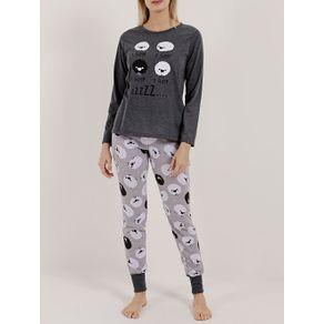 Pijama Longo Feminino Cinza GG