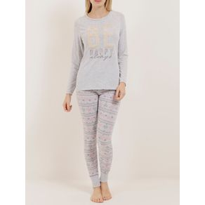 Pijama Longo Feminino Cinza G