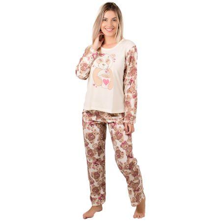 Pijama Longo Feminino Estampado Marcelle (Bege) P