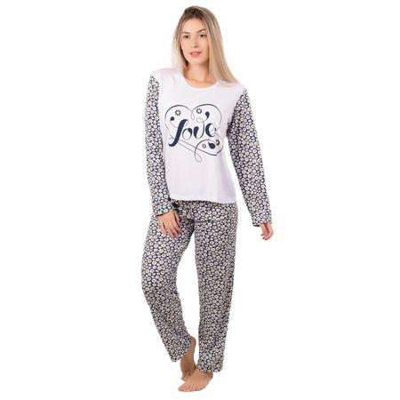 Pijama Longo Feminino Estampado Marcelle Branco / P