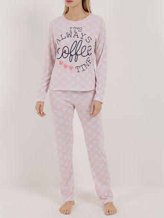 Pijama Longo Feminino Salmão