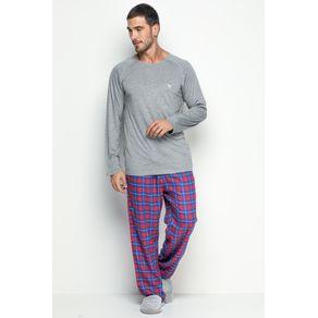 Pijama Longo Masculino de Flanela - Xadrez Pic Nic P