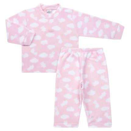 Pijama Longo para Bebe em Microsoft Nuvens Rosa - Dedeka