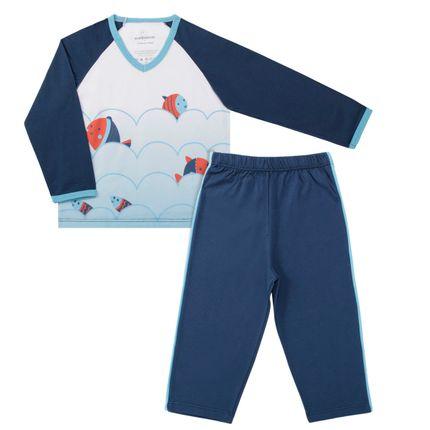 Pijama Longo para Bebe em Suedine Little Fish - Dedeka