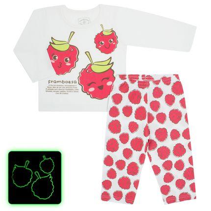 Pijama Longo que Brilha no Escuro Framboesa - Cara de Criança