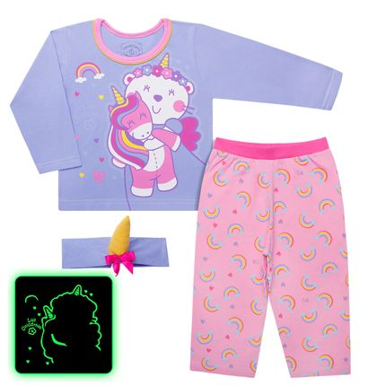 Pijama Longo que Brilha no Escuro Luli Unicórnio - Cara de Criança