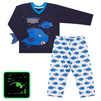 Pijama Longo que Brilha no Escuro Peixe Papagaio - Cara de Criança