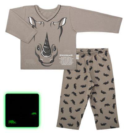 Pijama Longo que Brilha no Escuro Rino - Cara de Criança