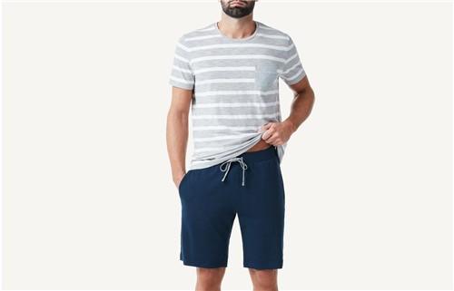 Pijama Masculino Curto às Riscas - Cinza M
