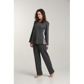 Pijama Mulher Cm Renda Sobreposta e Fend-rock - 1299 M