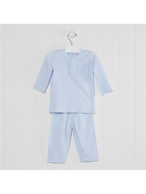 Pijama My Lord de Algodão Branco e Azul Tamanho 6